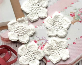 5 Small Double Layered Off White Cotton Floral Flower Wedding Cocktail Dress Gown Sew On Appliques Embellishment Decorations 4 cm
