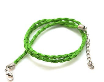 Faux braided leather - 3mm - with clasp - green cord
