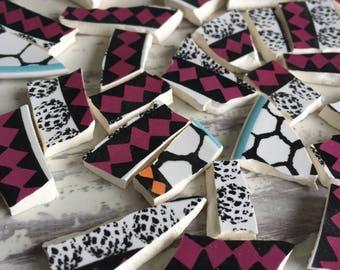 Mosaic Tiles Black Raspberry Orange Teal Beehive 50 Pieces Hand Cut Broken China