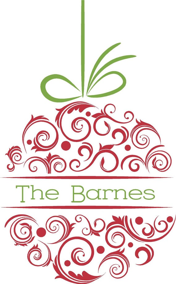 Custom Personalized Christmas Ornament Wall Art in Words