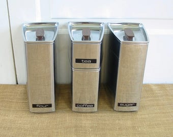 Vintage Canister Set, Mid Century Canister Set, Chrome Canister Set, Metal Canister Set, Mid Century Modern Canisters, Retro Canisters