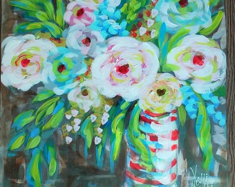 """Modern Abstract Flowers in Vase Large 24""""x25"""" on Lightweight Thick Board Ready to Ship YelliKelli"""
