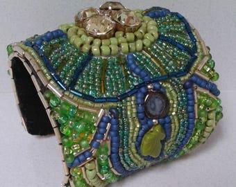Elegant Blue and Green Cuff Bracelet