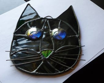 Cat Face Stained Glass  in Beautiful Shiny all black Brilliant Blue eyes