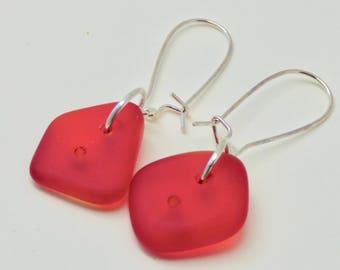 Modern Red Earrings, Casual Red Earrings, Red Cultured Sea Glass Earrings, Sterling Silver Red Earrings, Valentine Earrings, Gift for Her