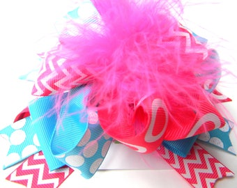 Turquoise and Hot Pink Hair Bows-Ott Hair Bow-Blue Hot Pink hair bow-Turquiose hair bow-Hot Pink Hair Bow