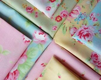 8 Fabric Bundle of Lecien ANTIQUE FLOWER PASTEL 2016 Cotton Japanese Fabrics