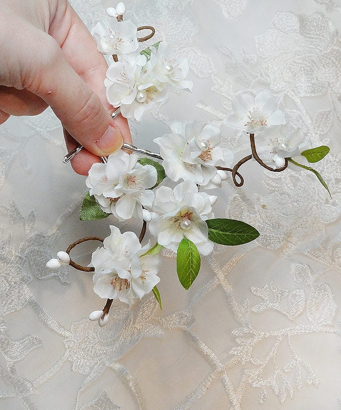 White flower hair clip flower hair pin bridal hair pins cherry white flower hair clip flower hair pin bridal hair pins cherry blossom hair mightylinksfo