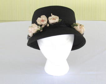1950's vintage navy blue fine straw hat with ivory flowers by Evelyn Varon