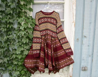 L-XL Upcycled Tribal Sweater Dress// Altered Clothing// Reconstructed// emmevielle
