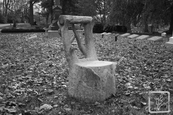 """Seated Alone,"" Crown Hill Cemetery, Indianapolis, Indiana, 2013."