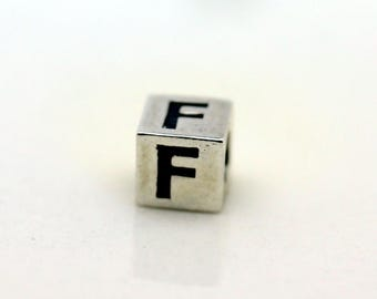 Sterling Silver Alphabet F Block Cube Square Bead 4mm