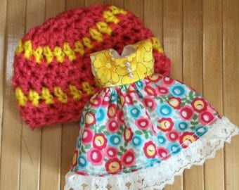 Hat & Dress Set for Blythe - Yellow and Coral set