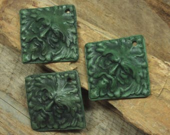 PENDANT, Ceramic Clay Jewelry Component, Green Man Ecological Icon, Handmade, Square One of a Kind, Wearable Either Side, Open Clay Finish