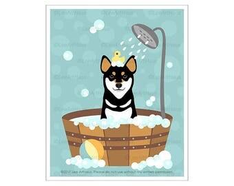 355D Dog Art Prints - Black and Tan Shiba Inu in Bubble Bath Wall Art - Shiba Inu Print - Shiba Inu Drawing - Dog Taking Bath - Dog Poster