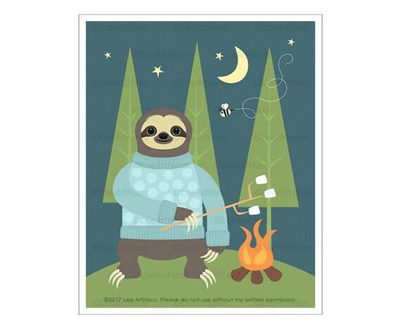 11J Camping Decor - Sloth Camping Wall Art - Campfire Print - Whimsical Animal Drawing - Fathers Day Gift - Animal Nursery Print - Kid Art