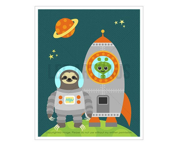 18J Childrens Art - Astronaut Sloth with Rocketship Wall Art - Space Theme Nursery Wall Art - Astronaut Print - Funny Art for Boys Room