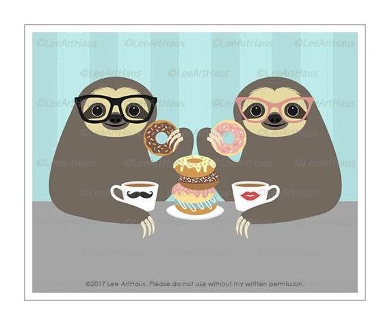 34J Sloth Drawing - Sloth Couple Eating Stack of Donuts Wall Art - Donut Print - Donut Wall Art - Coffee and Donuts - Sloth Art - Sloths