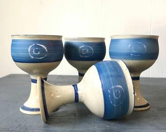 handmade pottery goblets - zen circles boho barware - ombre blue white