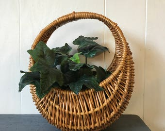 woven wicker basket with handle - round boho rattan planter - hanging basket