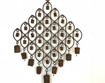 vintage brass wind chime - India bell chime - boho mobile - rustic yard garden decor