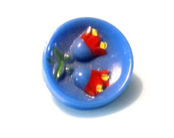 Vintage sewing buttons - glass tulips - blue