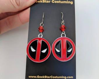 Deadpool Metal Charm and Crystal Earrings, GeekStar Comic Book Geek Jewelry