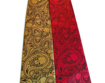 Reserved - 3 Mens neckties - microfiber necktie black and gold paisley skull design.