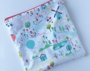 Sandwich Bag - Kids - Windmills - Lunch Bag - Zippered Sandwich Bag - Sandwich Sack - Kids Lunch Bag - Reusable Sandwich Bag