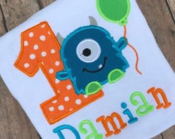 Monster Birthday Shirt,  Monster Bodysuit, Monster Balloon Birthday Shirt, Monster 1st Birthday Shirt, 1st Birthday Shirt