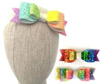 Rainbow Glitter Bow   Rainbow Bow   Glitter Bow