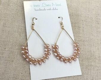 Free Shipping, Beaded Hoop Earrings