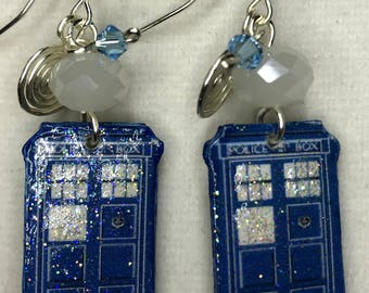 Doctor Who TARDIS Dangle Earrings
