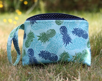 Blue and Green Pineapples Knitting Project Bag - Floral Sock Project Bag - Zippered Project Bag - Crochet Project Bag