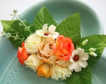 Peach Fairy Floral Barrette-Statement Piece-Woodland Clip-Fantasy Fashion-Ren Faire Wedding-Flower Hair Clip-Fashion Accessory-Teen Gift