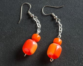 50% OFF SALE Orange Vintage Candy Drop Lucite Earrings, Plastic & Glass Beads, Silver Toned Chain, Silver Plated Ear Hooks, Retro Jewelry