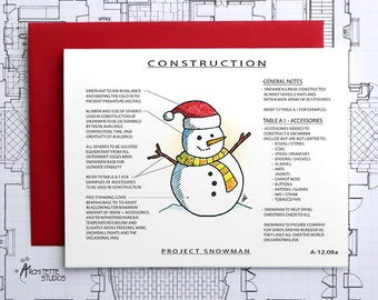 Project Snowman with Santa Hat Construction - Instant Download Printable Art - Construction Series