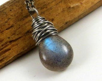 Labradorite Necklace Gemstone Jewelry Wire Wrap Necklace Blue Flash Labradorite Gifts for Her