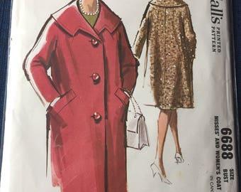 Vintage 1960 McCall's Coat Pattern #6688 Size 14, Bust 34 Uncut Uncut Vintage 1960s McCall's 6688 Wide Shawl Collar Coat Sewing Pattern \