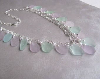 Sea Glass Necklace - Amethyst and Seafoam Beach Glass Necklace - Sea Glass - Beach Glass Jewelry - Ocean Necklace - Sea Glass Gift