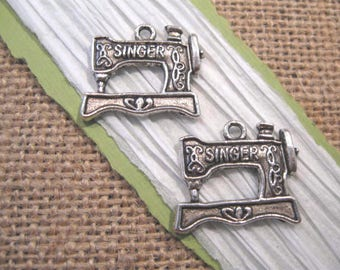 Antique Silver Singer Sewing Machine Charms - 2 Count