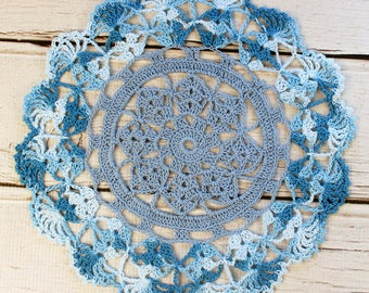 Crocheted Shaded Blue Variegated Table Topper Doily - 10 1/2""