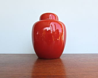 Fitz & Floyd Porcelain Ginger Jar in Tomato Red - Made in Japan by FF