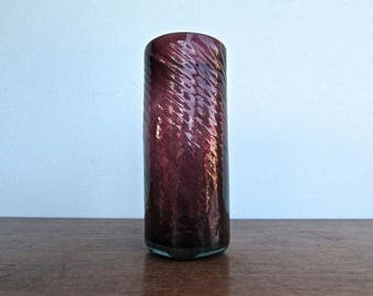 Oaxacan Spun-Glass Tumbler - Free-Form Blown Mexican Glass in Deep Amethyst, Avalos Importers c1960s