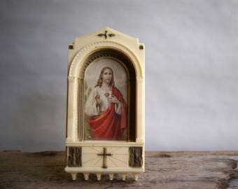 Vintage Holy Water Wall Plaque Religious Art, Plastic Frame