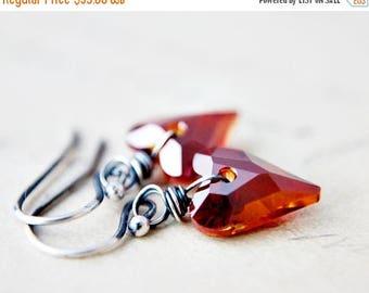 Summer Sale Crystal Earrings, Dangle Earrings, Heart Earrings, Crystal Hearts, Swarovski Crystal, Swarovski Hearts, Sterling Silver, Drop Ea