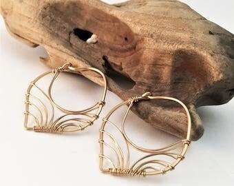 Gold Filled Wired Wrapped Petal Hoop Earrings - E460GF-S -handmade wire jewelry by cristysjewelry