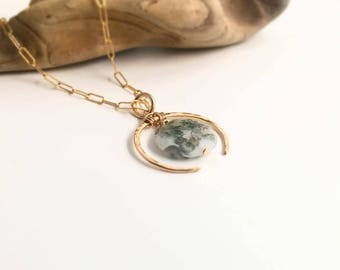 Gold Filled Crescent Necklace-Solar Quartz (N430GF-QU) Handmade, Hammered, Contemporary, Chain Necklace