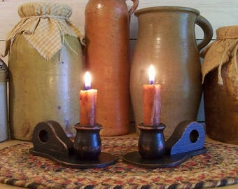 Primitive Pair Wooden Candle Paddles with Fingerhold Handles / Handmade Color Choice
