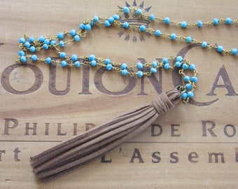 Brown Leather Tassel Necklace with Turquoise Chain